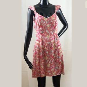 WAYF Coral Floral Tie Back Flutter Dress Medium